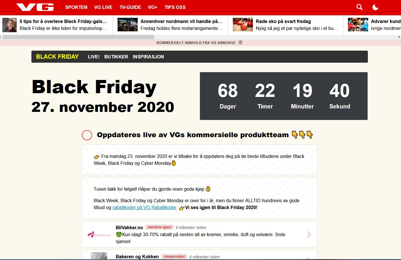 Annonsører samler rabattkoder for å øke besøkstall før og under Black Friday